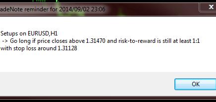 TradeNote Reminder Alert